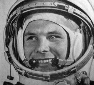 Yuri Alekseyevich Gagarin, primer hombre en el espacio. -