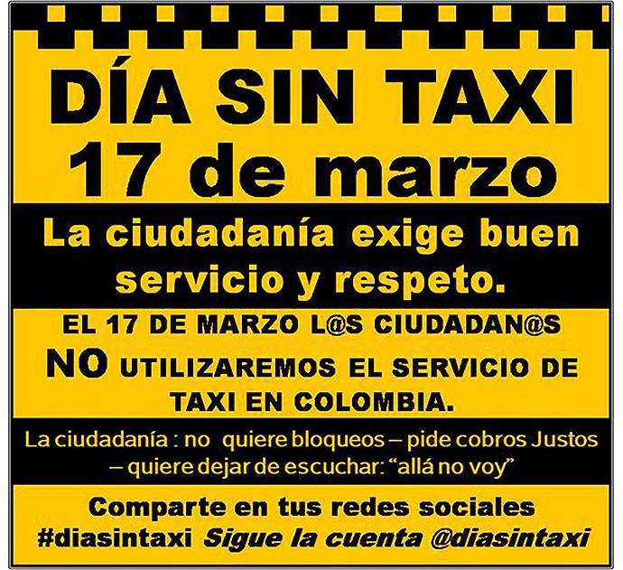 Usuarios promueven día sin taxi en todo Colombia
