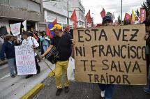 Nuevas manifestaciones en Quito a tres días de llegada del Papa Francisco