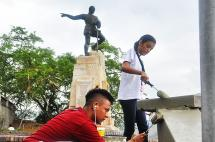 En imágenes: enlucen el mirador del monumento a Sebastián de Belalcázar