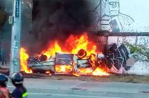 Cuatro lesionados en incendio de una ambulancia en Cali