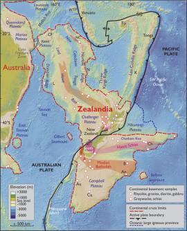 El 94% de Zelandia se encuentra sumergido en el oceáno pacífico. Nueva Zelanda y Nueva Caledonia se reparten la porción que se mantiene en la superficie.<br>Cortesía de Geological Society of America's Journal