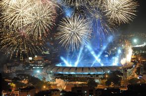 Los juegos pirotécnicos iluminaron la Sucursal del Cielo en inauguración de World Games