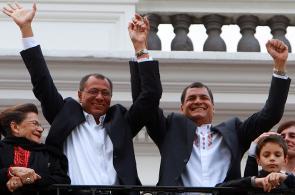 Correa celebra su triunfo en elecciones