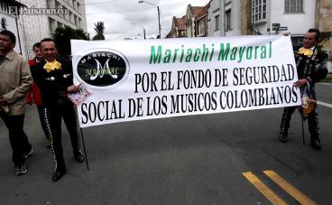 Músicos de Colombia marcharon por sus derechos en las calles de Bogotá