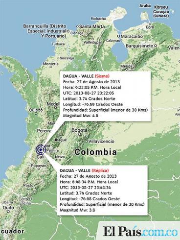 Sismo de 4,6 grados y una réplica sacudieron el suroccidente de Colombia