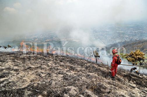 Imágenes: siete horas de lucha contra las llamas en Las Tres Cruces