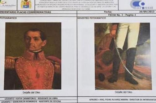 Roban en Cartagena óleo del siglo XIX con la imagen del libertador Simón Bolívar