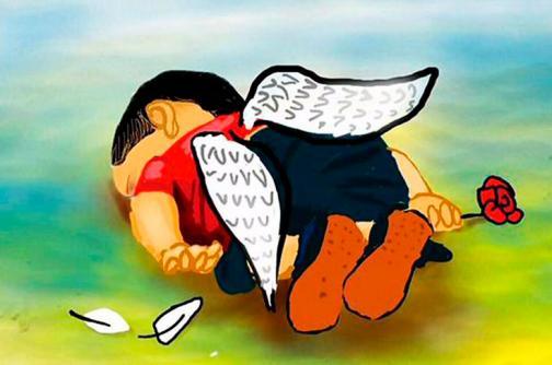 Imágenes: artistas también 'lloran' la muerte de niño sirio ahogado en Turquía