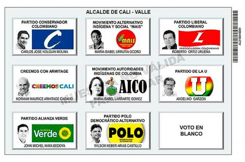 Así serán los tarjetones para las elecciones del 25 de octubre