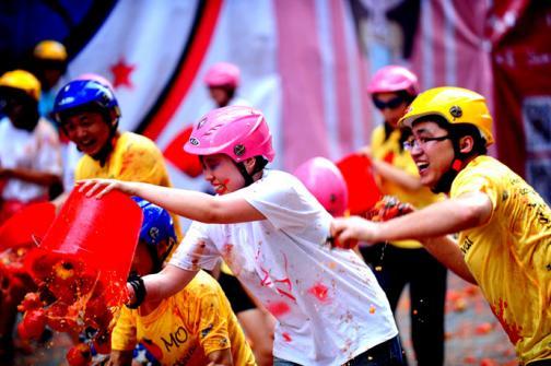 En imágenes: En Shenyáng, China, se celebró el festival del tomate