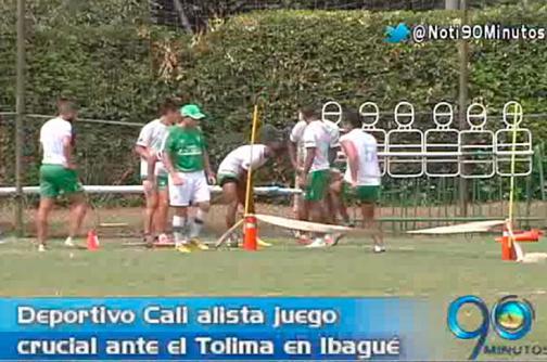 Deportivo Cali prepara su partido ante Deportes Tolima en Ibagué