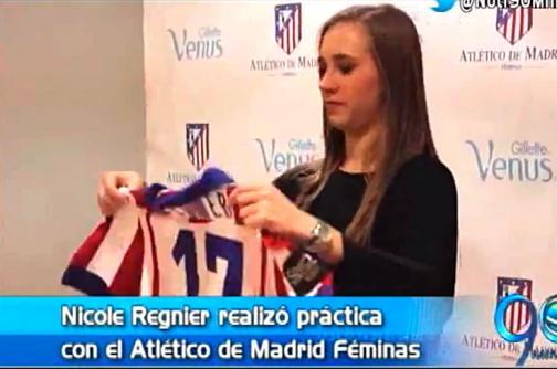 Nicole Regnier realizó primera práctica con el Atlético de Madrid