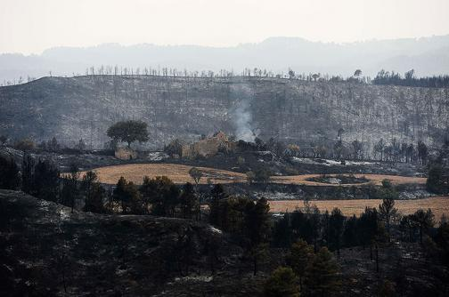 Incendio amenaza 1.200 hectáreas de bosque en Cataluña, España