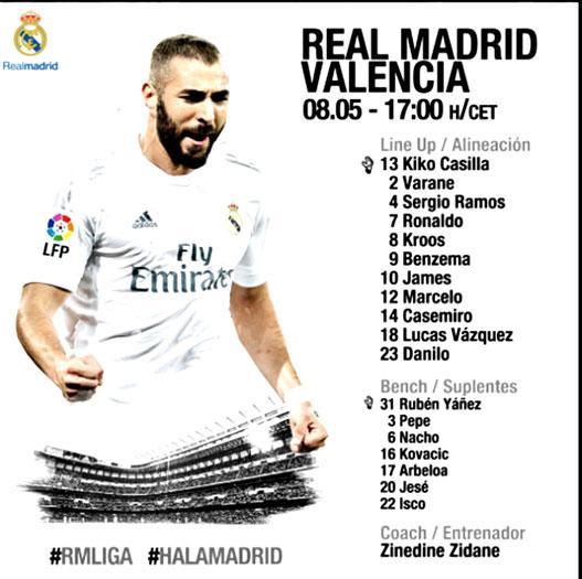 Nómina titular del Real Madrid frente al Valencia. <br>Tomada de Twitter @realmadrid