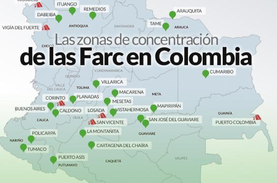 En estas zonas se concentrarán las Farc para entregar sus armas