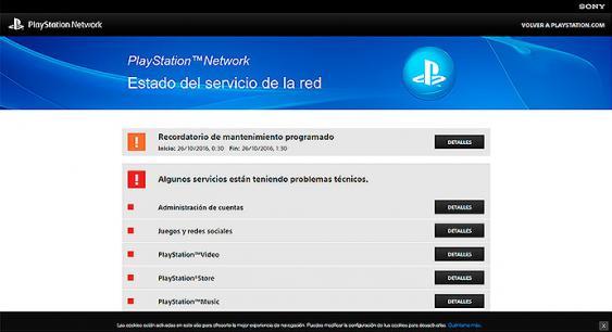 Este es el estado en que se encuentra el sitio web de playstation, tras ataque Ddos propiciado este viernes. <br>Foto: pantallazo del sitio web de playstation