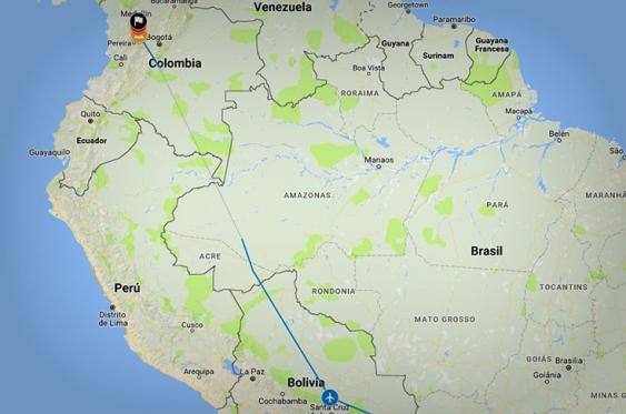 Gráfico: la ruta del siniestro aéreo del Chapecoense