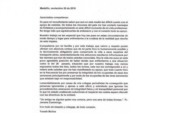 En la carta, la controladora que operó el día del siniestro aéreo, denunció amenazas en su contra. <br>Especial para El País