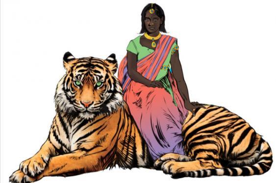 La heroína Priya que se pasea en un tigre por la India. <br>Especial para El País
