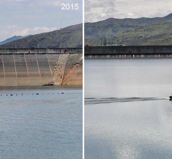 Comparativo embalse Savajina en año y medio