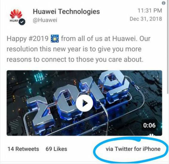Message from Huawei on iPhone