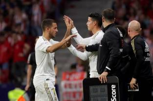 James Rodríguez jugó 14 minutos en un desteñido derbi entre Atlético de Madrid y Real Madrid